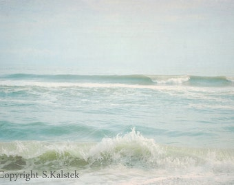 Ocean Waves Photograph Beach Seaside Calming Seascape Pale Aqua Wall Decor 8x12 By The Sea