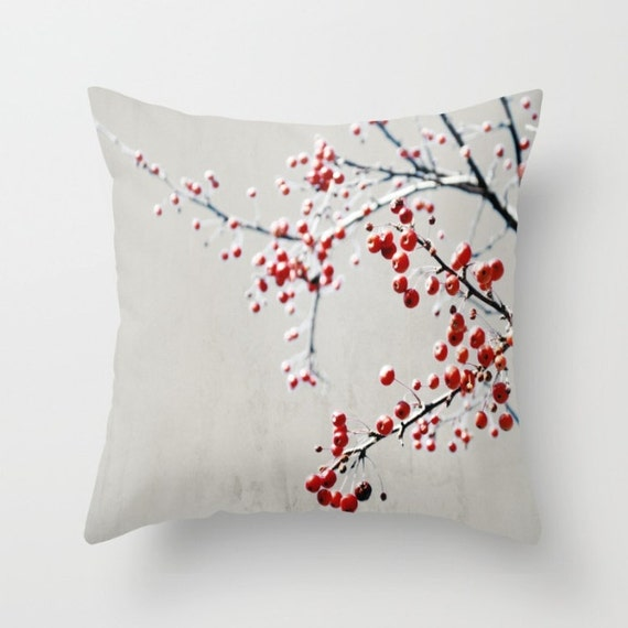 Pillow Red Gray Decorative Pillow Red Berry Branch Throw Etsy Interesting Red And Gray Decorative Pillows