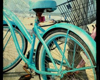 Vintage Bike Photograph Retro Aquamarine bicycle Beach Boardwalk Ocean shore bike Wall Art 8x8