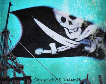 Pirate Ship Photograph, Skull and Crossbones Print, Teal Blue Pirate Theme Print, Boys room Pirate Photograph, Blue Black Kids Room Pirate