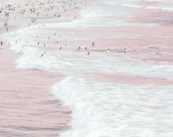 Ocean print in Pink Pastel, Beach and Sun Bathers Print, Pastel Coastal Shore Print, Ocean Waves, Beach Swimmers Print, Pink Beach Print