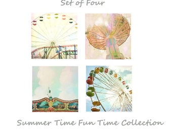 Carnival Photography Set, Set of Four Nursery Carnival Prints, Pastel Pink Blue Yellow, Ferris Wheel Carousel Art, 5x5 8x8 and up
