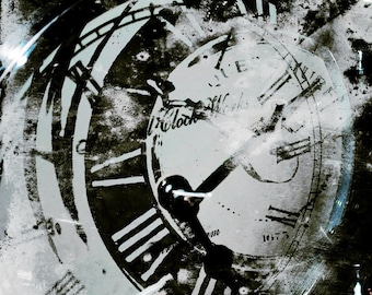French Clock  Photograph Steampunk Time Machine Surreal Black and White Art Print 8x8