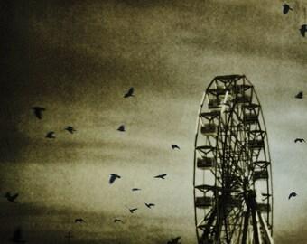 Night Carnival Photograph Sepia Print, Dark Circus, Crows, Ferris Wheel, Dark Carnival Town Wall Art 8x8