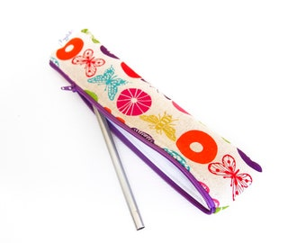 Zippered Reusable Straw Case - Echino Butterflies and Flowers