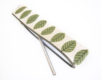 Zippered Reusable Straw Case - Linen Leaves