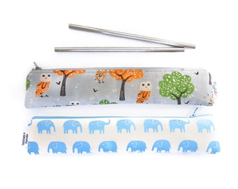 Set of TWO (2) Zippered Reusable Straw Case - Chose Your Fabrics and SIze!