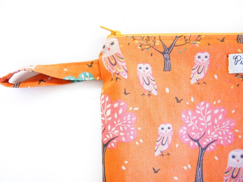 EX-LARGE Zippered Wet Bag  Nappy Wallet  Diaper Case with an Optional Tab or Wristlet Owls and Trees- Orange