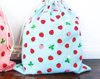 Large Drawstring Bag / Library Bag / Laundry Bag - Strawberry (Blue)