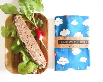 Sandwich Wrap with Food-Safe Nylon Lining - Happy Clouds