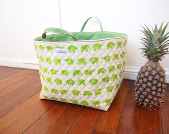 Choose Your Color: Extra-Large Fabric Storage Box / Fabric Basket / Tote Bag - Elephant