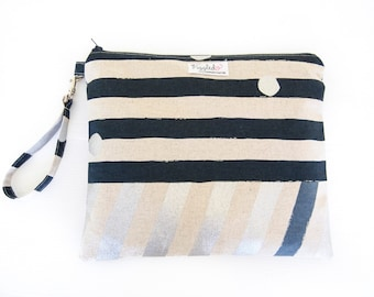 EX-LARGE Zippered Wet Bag / Clutch Bag with an Optional Tab or Wristlet - Echino (Stripe - Navy Blue or Gray)