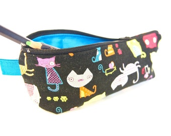 30% Off Sale - Zippered Pencil Case / Pouch - Cats on Black