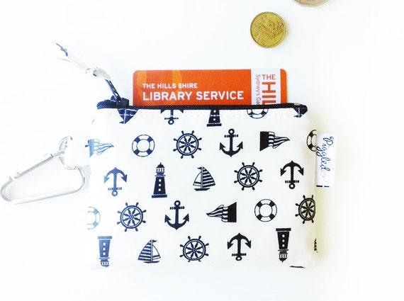 Kids Oilcloth Coin Purse Mini Wallet Nautical Symbols