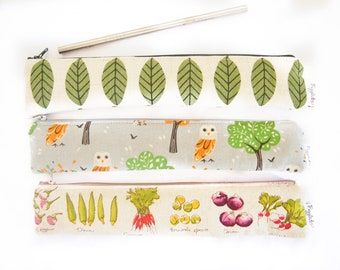 Set of THREE (3) Zippered Reusable Straw Case - Chose Your Fabric Combination!