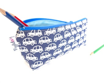 Zippered Pencil Case / Pouch - Cars (Navy Blue)