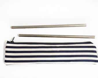 Zippered Reusable Straw Case - Stripe (Black or Navy Blue)