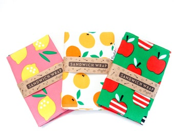 Sandwich Wrap with Food-Safe Nylon Lining - Green Apple or Oranges (Organic Cotton)