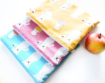 Large Wet Bag Pouch with Waterproof Lining - Polar Bear 2 (Pink, Blue or Yellow)