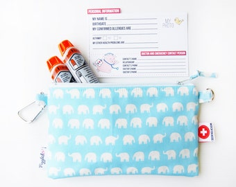 EpiPen Case with an Optional Adjustable Shoulder Strap, Medical ID Card, and a Carabiner - Blue Elephant (Oilcloth)