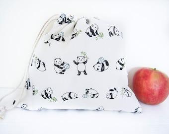 Small/Medium Drawstring Bag - Panda in Black and White