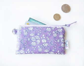 """SALE - 30% Off - Oilcloth Wallet / Coin Purse with a Divider - Liberty of London """"Capel"""" (Lavender Purple)"""