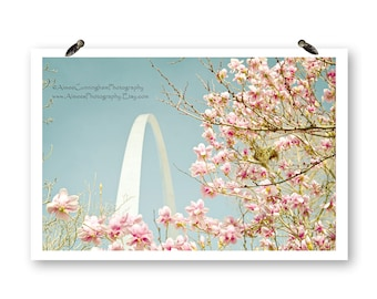 Digital Download, Saint Louis Arch, Missouri Photography, Spring Photography, The Arch, US Landmarks, Nature Photos, Spring Flowers