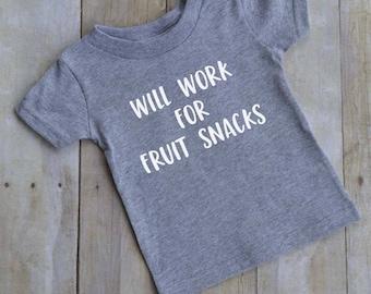 Will work for fruit snacks funny kids t-shirt - fun toddler t-shirt - Short sleeve kids t-shirt