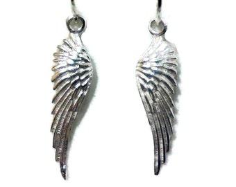 Angel Wing Earrings, Bird Feather Earrings, Memorial Jewelry, Sterling Silver Earrings, Boho Dangle Earrings, Birthday Gift for Her