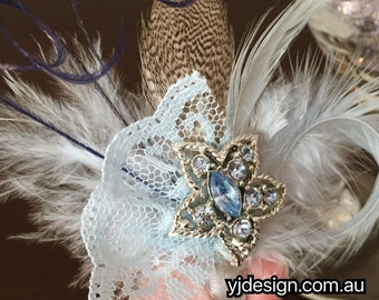 Something Blue Wedding Headpiece, Feather Hair Clip, Blue Hair Jewelry, Bridesmaid Gift, Birthday Gift for Her, Boho Brooch, FEATHERTINI