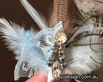 Something Blue Feather Hair Clip, Bridal Headpiece, Bridal Hair Jewelry, Bridesmaid Brooch, Blue Crystal Necklace, Birthday Gift FEATHERTINI