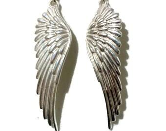 ANGEL Wing Earrings, Steampunk Earrings, Sterling Silver Earrings, Bird Feather Earrings, Big Minimalist Jewelry, Birthday Gift for Her