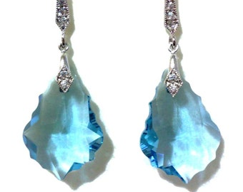 Something Blue Wedding Earrings, Gatsby Earrings, Aqua Earrings, Art Deco Earrings, Swarovski Crystal Bridesmaid Jewelry, Gift for Her, DIVA