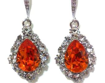 Tangerine Bridal Earrings, Orange Earrings, Swarovski Crystal Drop Earrings, Dangle Earrings, Silver Gold Earrings, Bridesmaid Gift BIJOUX