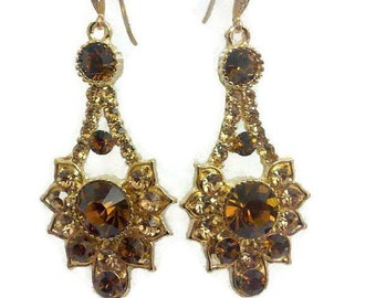 Topaz Earrings, Citrine Gold Bridal Earrings, Bridesmaid Earrings, Art Deco Earrings, Geometric Earrings, Bridesmaid Jewelry Gift, RAYS