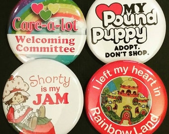 """1.5"""" Buttons OR Magnets-80s Girl Cartoons, Set of 4"""