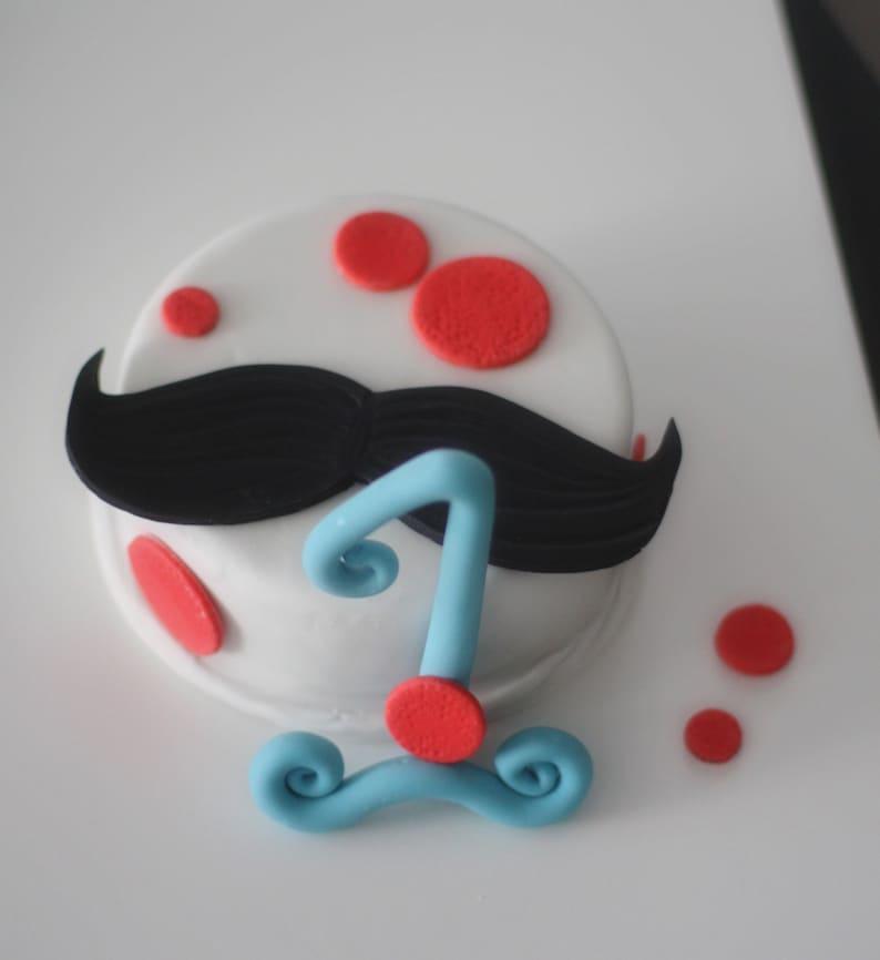 Fondant Mustache Cake Topper Big Fancy Age And Polka Dots