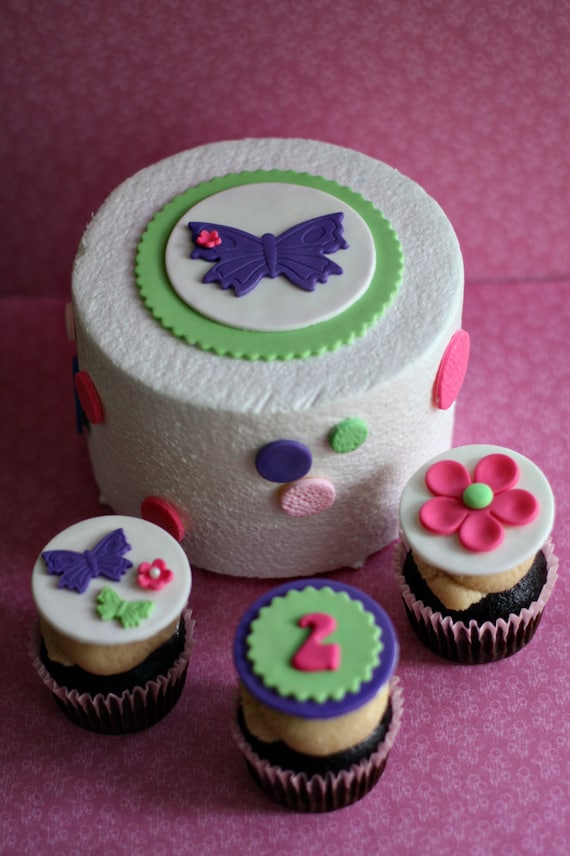 simple cake decorating ideas with fondant.htm fondant butterfly flower and polka dot cake decorations plus etsy  fondant butterfly flower and polka dot