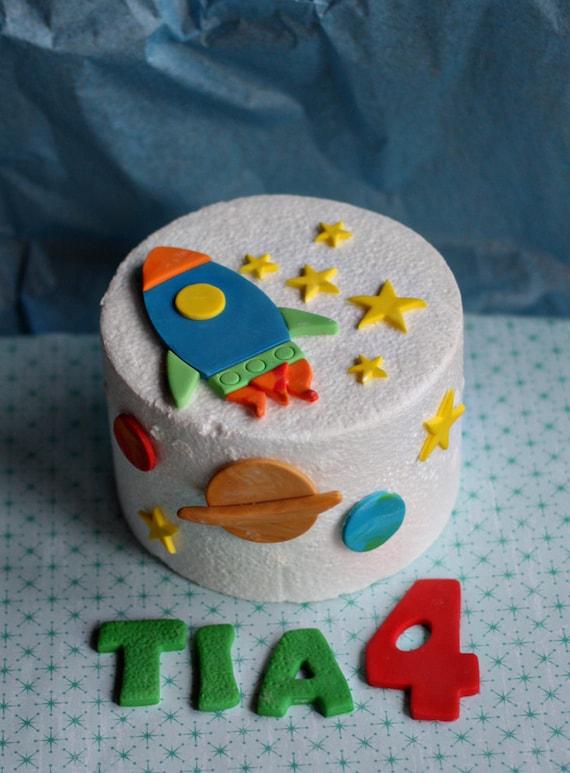simple cake decorating ideas with fondant.htm fondant rocket stars and planet cake decorations for a space etsy  fondant rocket stars and planet cake