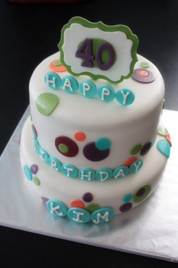 simple cake decorating ideas with fondant.htm fondant polka dot cake decorations with birthdate plaque and etsy  fondant polka dot cake decorations with