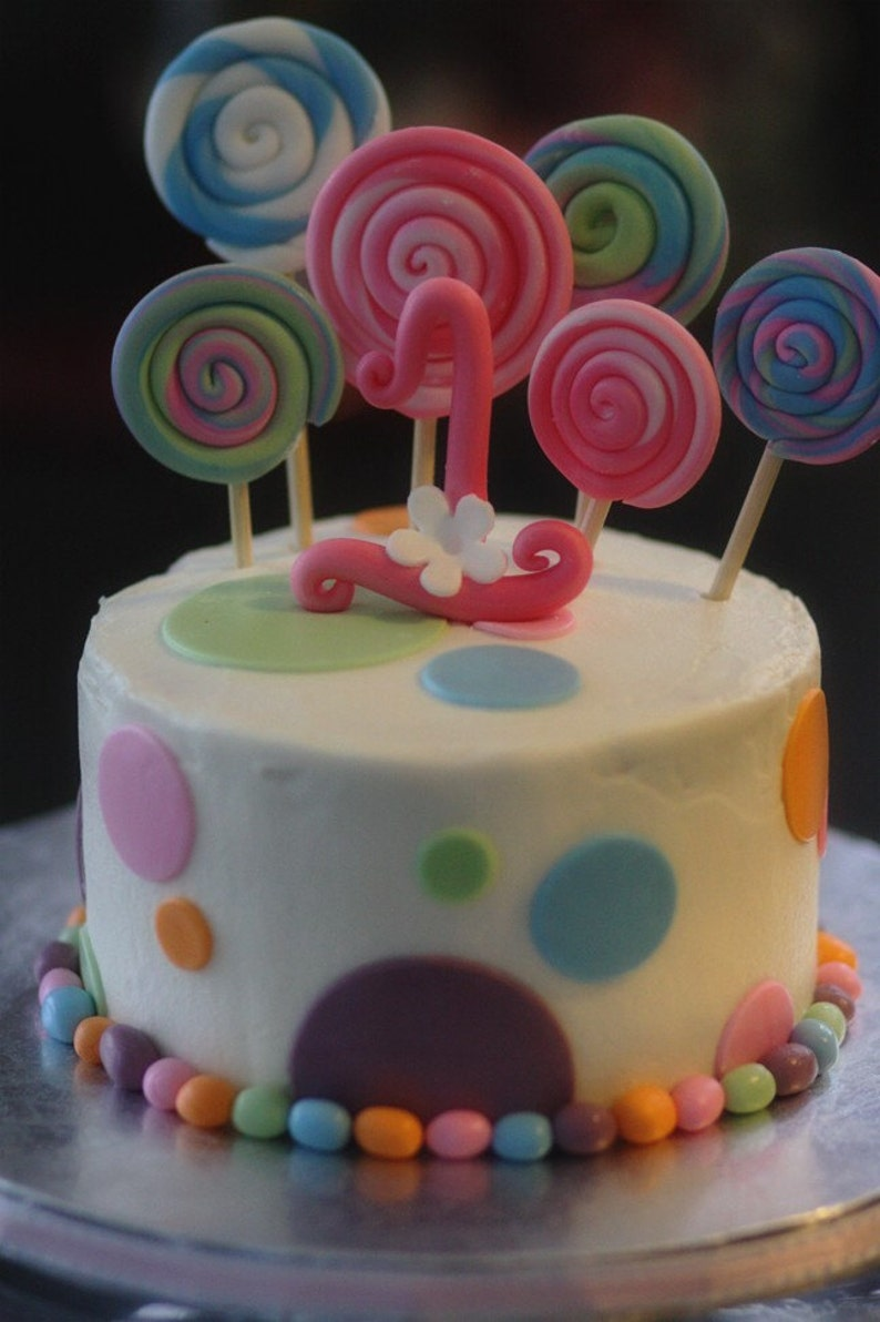 Fondant Candy Themed Decorations With Lollipops Polka Dots