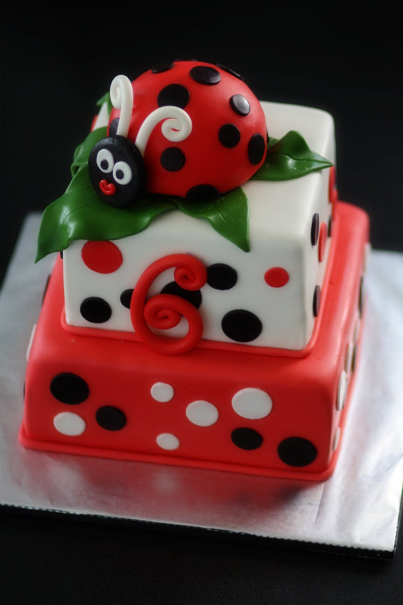 Ladybug Fondant Cake Topper And Matching Polka Dot
