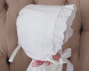 Extra Large Baby Bonnet, Easter Bonnet, Eyelet Baby Bonnet, Christening Bonnet, Baptism Bonnet,Sunbonnet, Ruffled Eyelet Bonnet