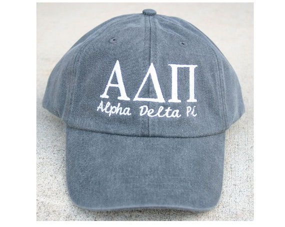 Alpha Delta Pi script with BIG and LITTLE added to the back of baseball cap