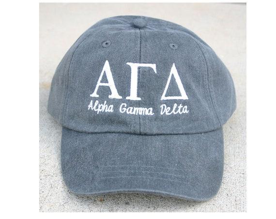 Alpha Gamma Delta with script baseball cap