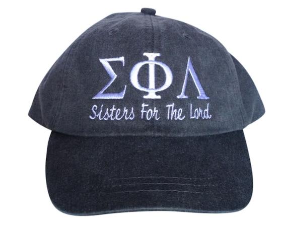 Sigma Phi Lambda with script baseball cap
