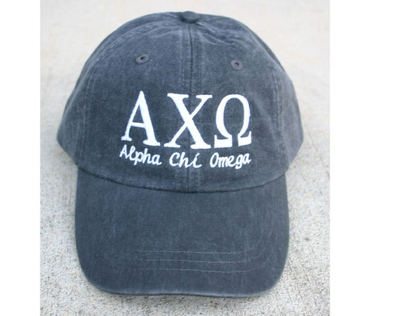 Alpha Chi Omega script with BIG and LITTLE added to the back of baseball cap