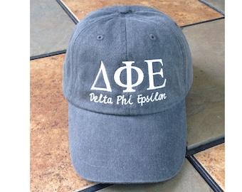 275315743ad06 Delta Phi Epsilon script baseball cap