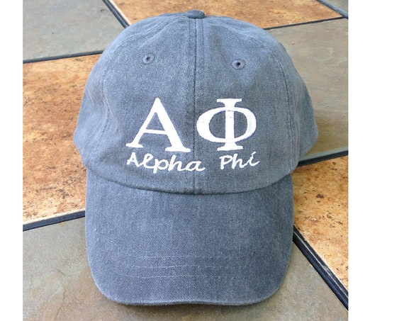 Alpha Phi script with BIG and LITTLE added to the back of baseball cap