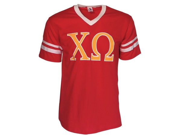 Chi Omega - 2 color Stripe Sleeve T-shirt Jersey
